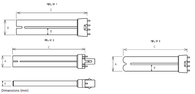 Philips TUV TL-S G23 2 and 4 Pins, 2G7 Dimensions Diagram